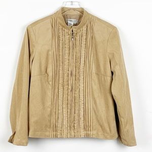 Coldwater Creek Faux Suede Ruffle Front Jacket